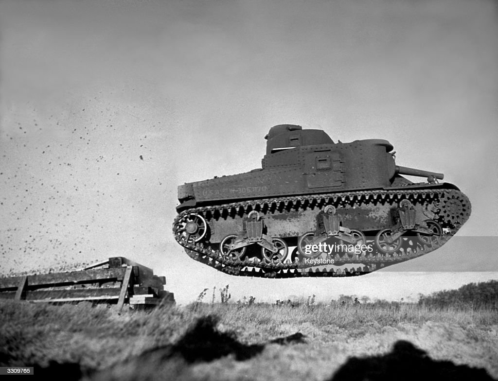 One of the American M-3 Medium Tanks in action in the Western Desert War.