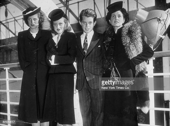 American matriarch Rose Kennedy with three of her children Eunice Kathleen and Bobby