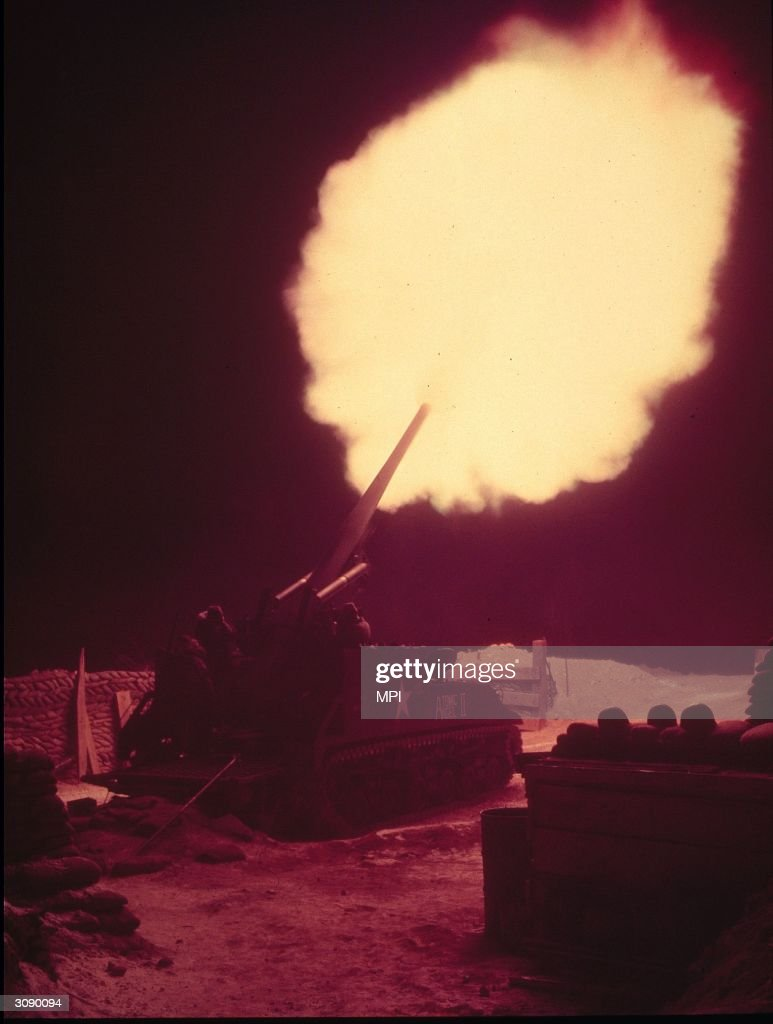 An American howitzer in action