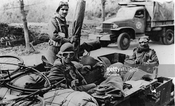 Heavily equipped Indian troops ready to fight with the British forces on the Cassino front in Italy