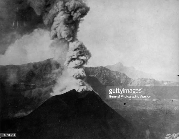 Italian volcano Mount Vesuvius near the Bay of Naples in eruption