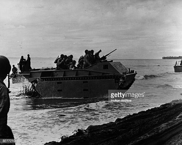 The Americans test out their amphibious tanks on the Soloman Islands
