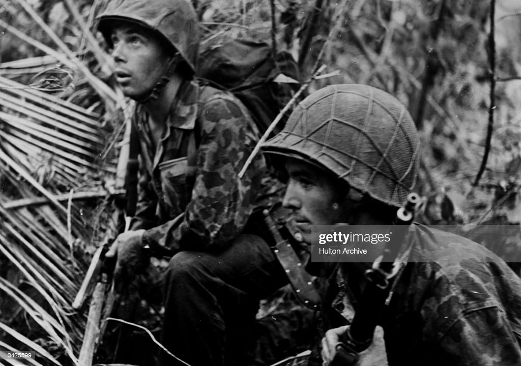US troops on sniper patrol on the island of Bougainville in the South Pacific