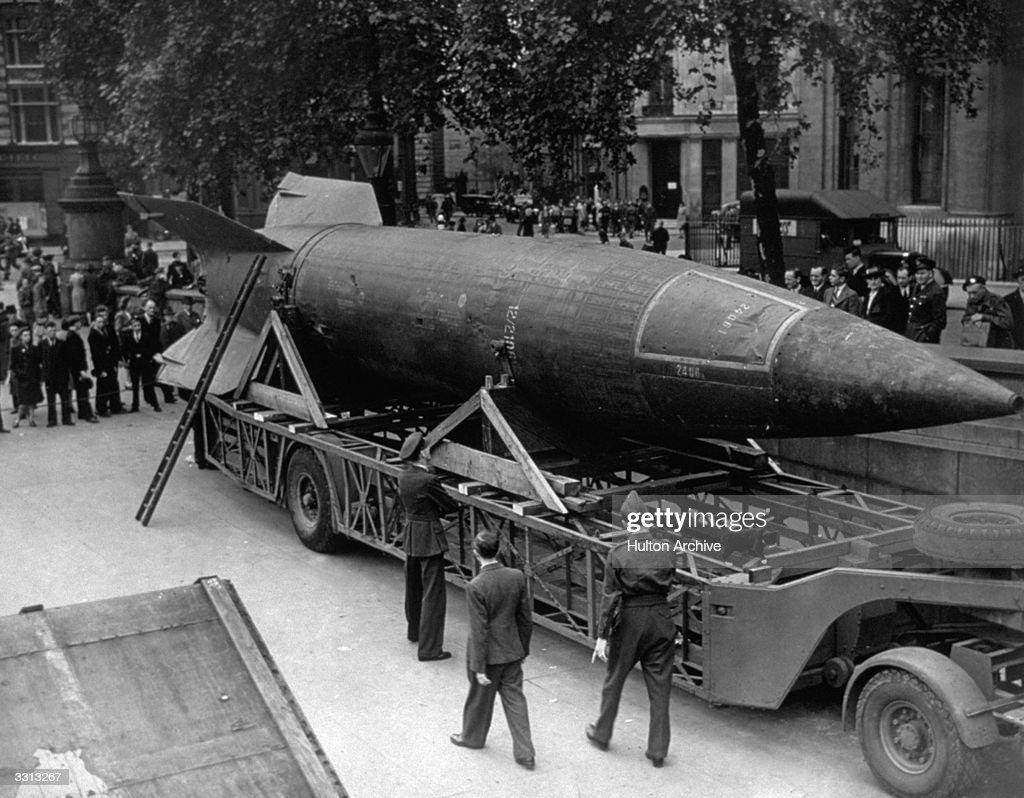 A V-2 rocket on display in Trafalgar Square, London.