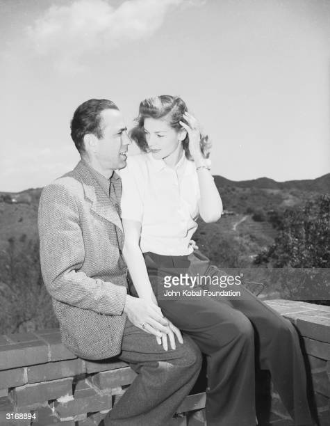 American actor Humphrey Bogart with his wife Lauren Bacall his costar in 'To Have and Have Not' and 'The Big Sleep'