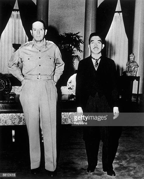 American soldier General MacArthur with Japanese Emperor Hirohito at the United States Embassy in Tokyo