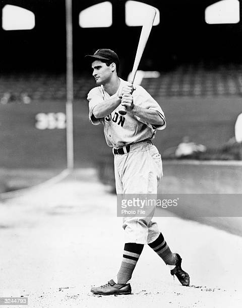 Bobby Doerr of the Boston Red Sox poses for an action portrait Doerr played for the Red Sox from 193751