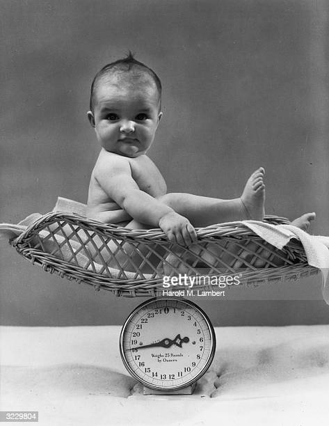 Portrait of a baby sitting on a basket on a scale