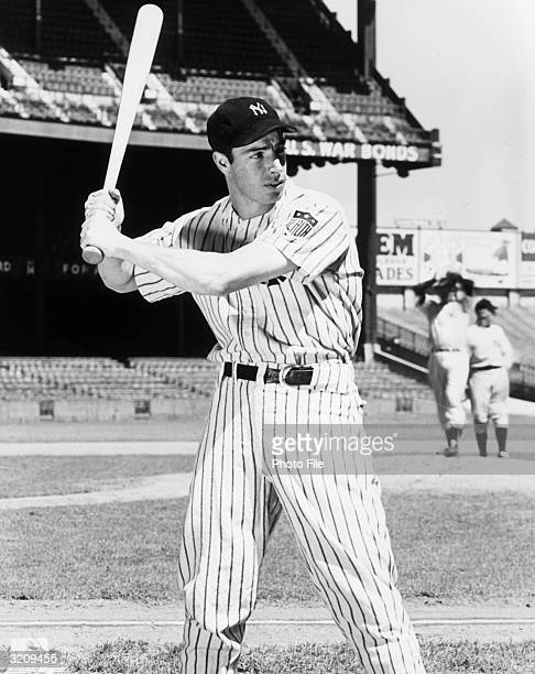 Portrait of New York Yankees outfielder and slugger Joe DiMaggio taken during batting practice