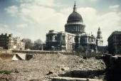 St Paul's Cathedral with a cleared bomb site in the foreground