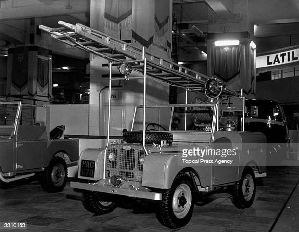 A Land Rover equipped as a fire engine on display at the 14th International Motor Show at Earl's Court