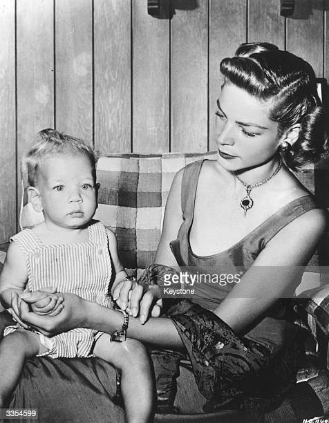American actress Lauren Bacall wife of Humphrey Bogart with her son Stephen Humphrey at home in Laurel Canyon California