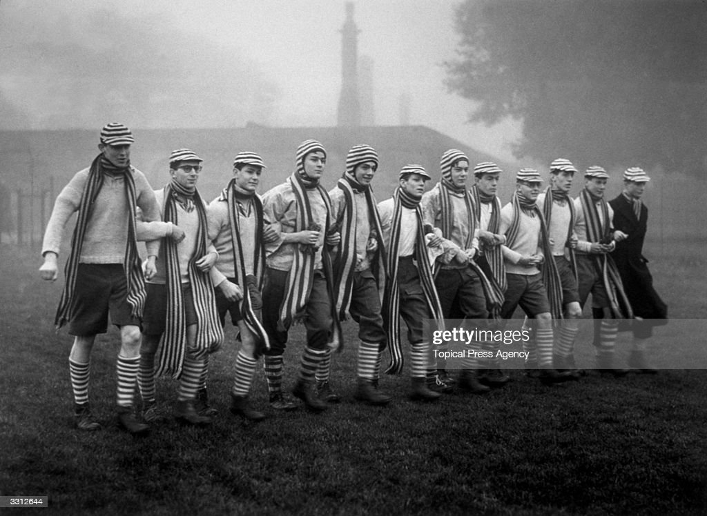 Boys from Eton College prepare for the Wall Game against the Oppidans, on St Andrews Day.