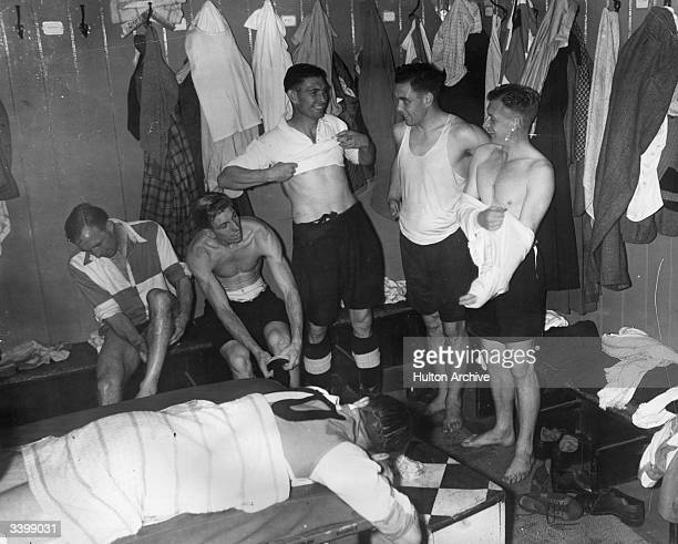 Fulham footballers Quested Jimmy Taylor Jack Rowley and Wallbanks get ready for the match