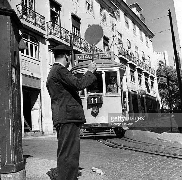 A tram on a street in Lisbon the capital of Portugal