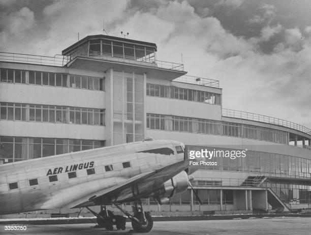 An Aer Lingus passenger plane at Dublin Airport at Collinstown near Dublin