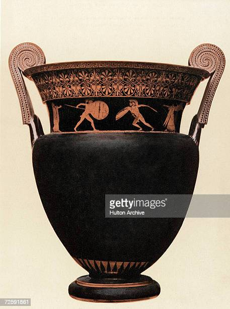 An ancient Greek redfigure krater from the 5th Century BC depicting the fight between Achilles and Memnon during the Trojan War From the British...