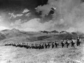 Chinese troops march over the highlands towards the Tibetian frontier after their invasion of Tibet
