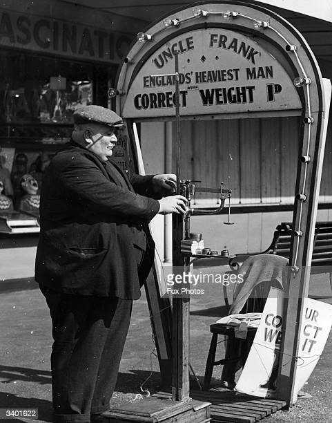 Claiming to be the heaviest man in England at 38 stone 'Uncle Frank' sets up his weighing machine Uncle Frank works as a weight guesser if his guess...