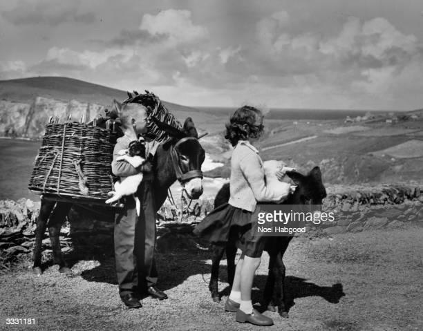 Irish children at Dunquin Slea Head County Kerry