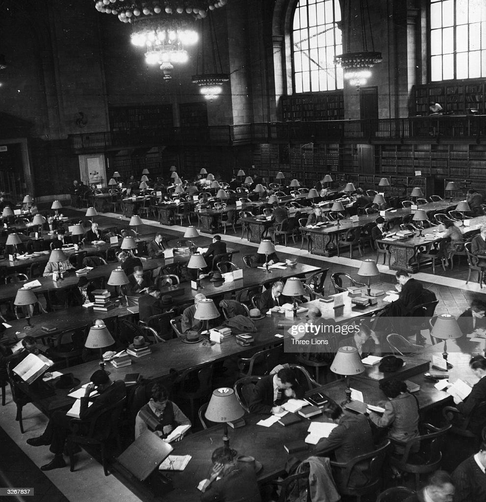 One wing of the main reading room in the New York Public Library which houses the largest private collection in the USA