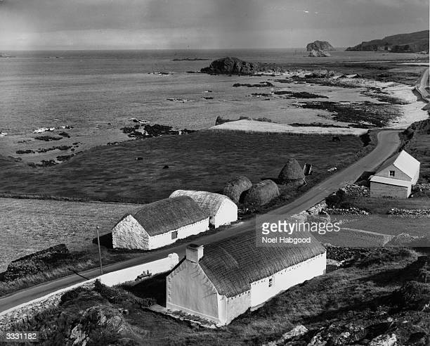 Thatched cottages near Malin Head in County Donegal