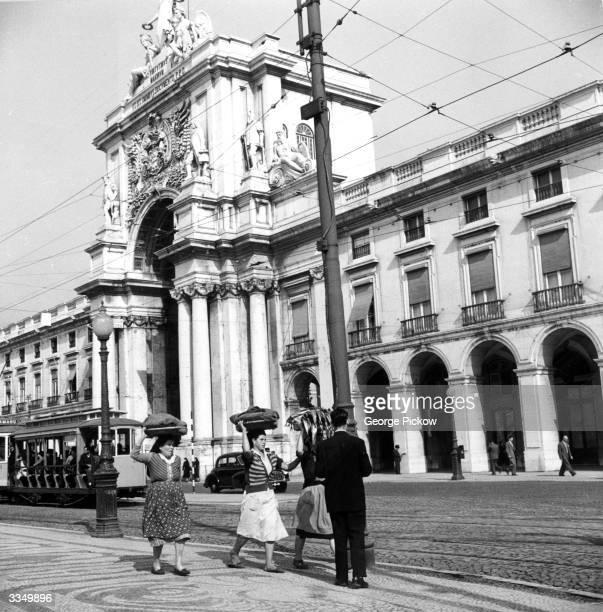 The Arco Da Rua Augusta a triumphal arch on the Praca de Comercio in Lisbon Portugal