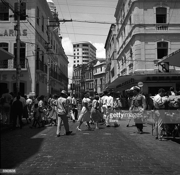 The busy main business street in Belem Brazil