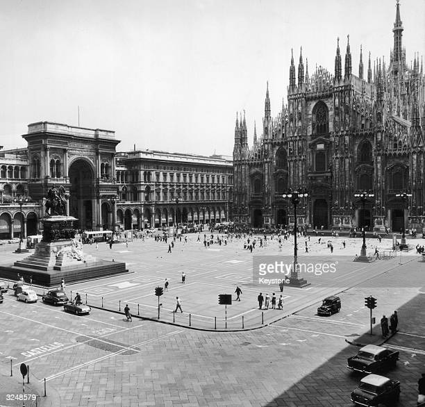 The famous cathedral or Duomo in Milan with the Galleria in the background