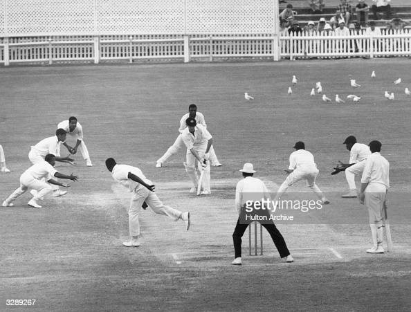The last ball of the fourth Test match between Australia and the West Indies at Adelaide which ended in a draw