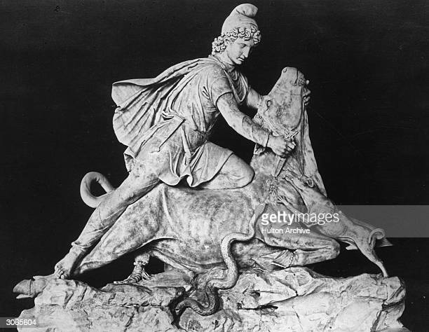 The Persian sun god Mithras slays the sacred bull with his dagger According to the myth from the bull's body sprang all the good plants and animals...