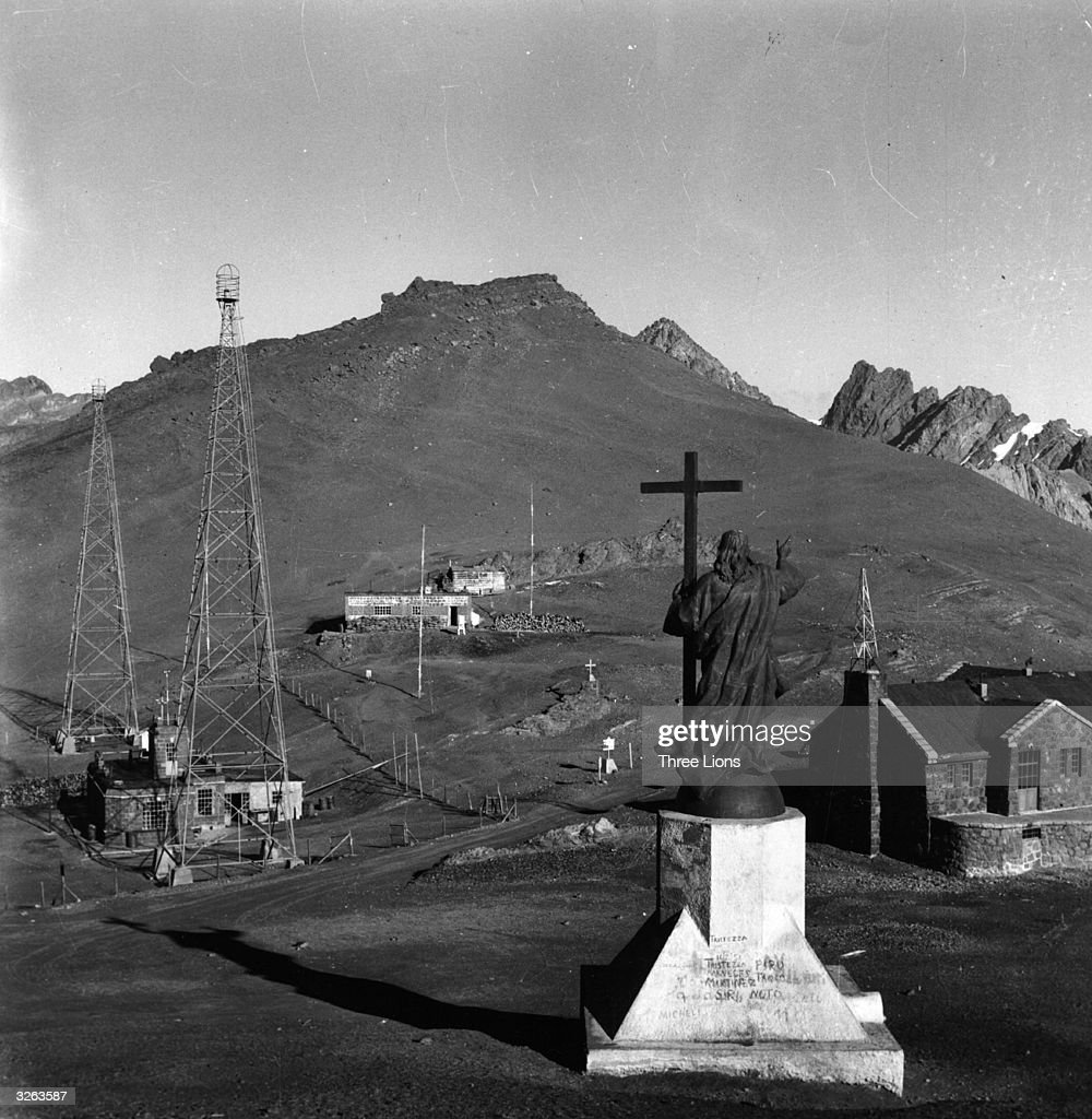 The statue of Christ of the Andes at a height of 12500 feet on the Bermejal or Uspallata Pass between Mendosa Argentina and Santiago Chile On the...