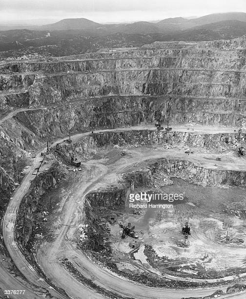 The vast Mount Lyall opencut mine in Tasmania Australia which produces lead zinc silver and small quantities of other minerals Most of the population...