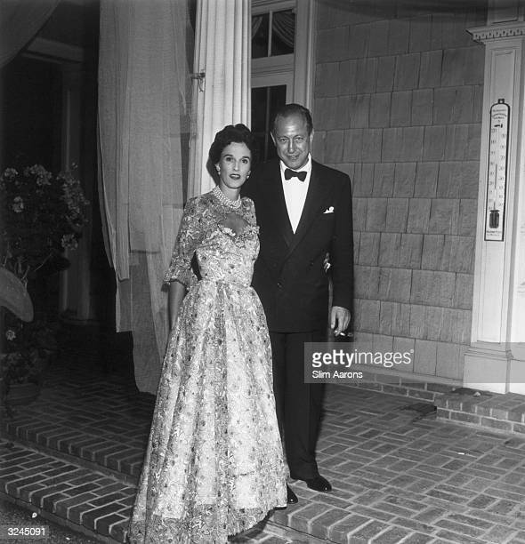 Chairman of American broadcasters CBS Wiliiam S Paley pictured with his wife Barbara at Sarah Roosevelt's going away party at Greentree held on Jock...