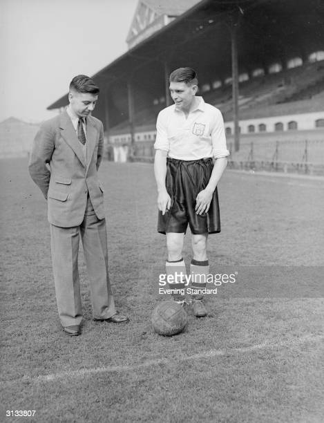Fulham Football Club's inside forward John Haynes with Jim Taylor