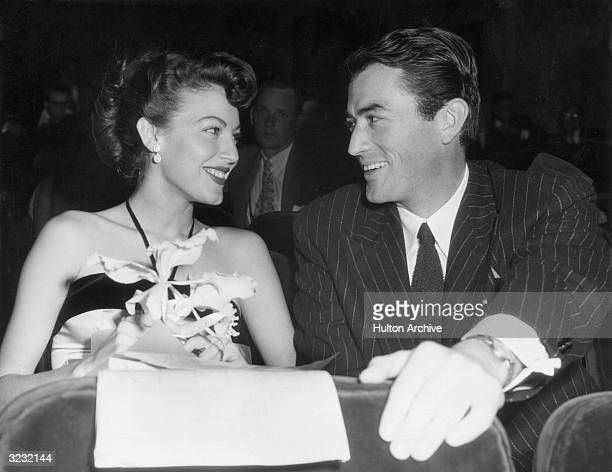 American actors Ava Gardner and Gregory Peck at a 'Look' magazine awards ceremony at the El Capitan Theatre Hollywood California