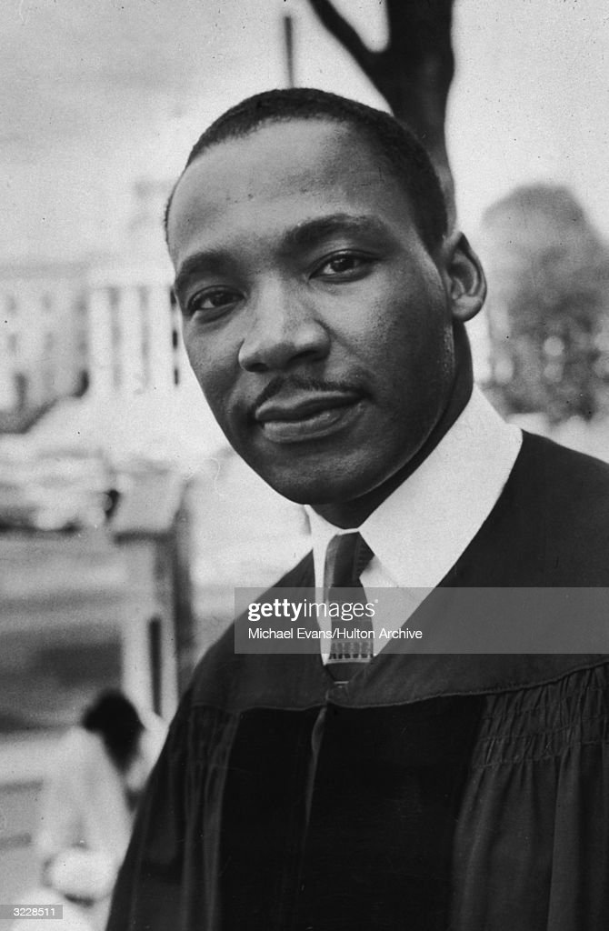Headshot of Reverend Martin Luther King Jr (1929 - 1968), American civil rights leader and pastor of the Dexter Avenue Baptist Church in Montgomery, Alabama, wearing his vestments.