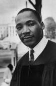 Headshot of Reverend Martin Luther King Jr American civil rights leader and pastor of the Dexter Avenue Baptist Church in Montgomery Alabama wearing...