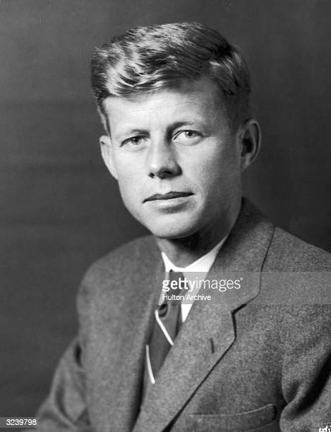 Studio portrait of United States Democratic Senator John F Kennedy from Massachusetts