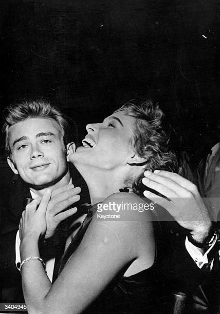 American actor James Dean with Swiss actress Ursula Andress