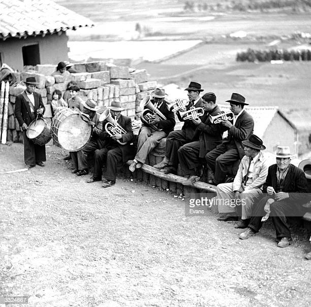 A brass band plays music during the Easter celebrations on Good Friday in Peru