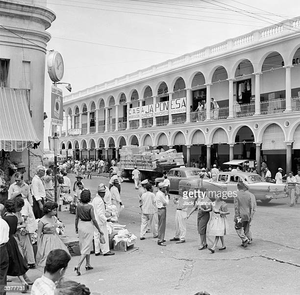 A busy shopping street in Maracaibo Venezuela