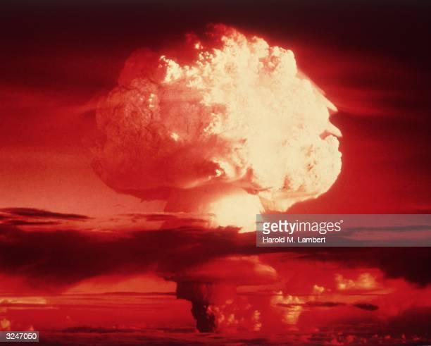 A mushroom cloud after an atomic blast 1950s
