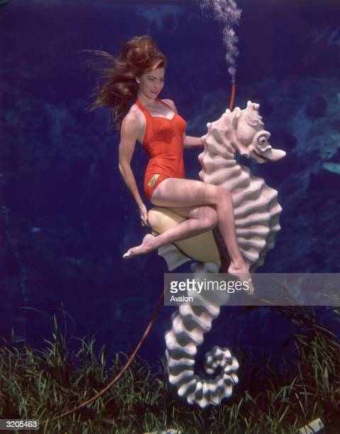 A professional mermaid posing on a plastic sea horse at an underwater show in Florida