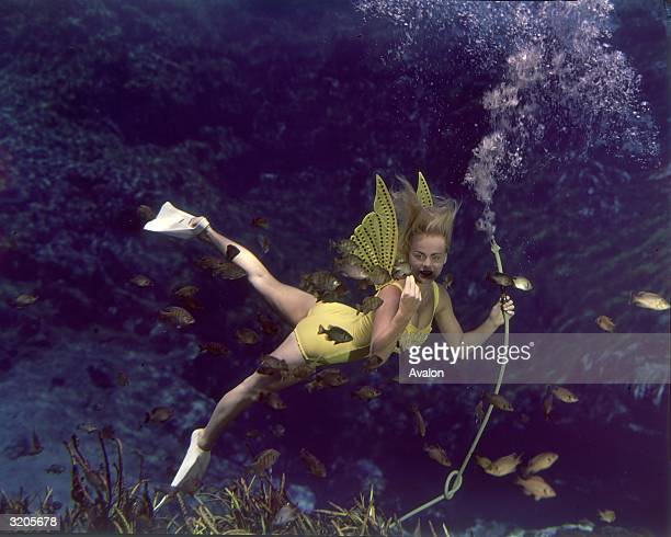 A professional mermaid posing underwater for visitors to the viewing gallery in Florida