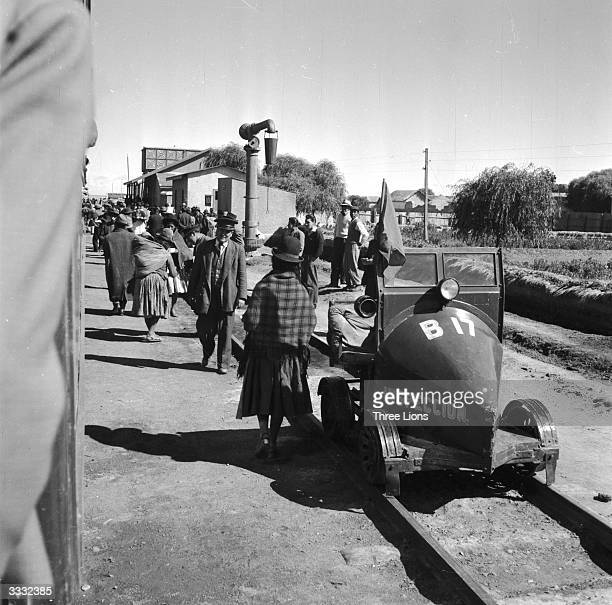 A railway inspection trolley att Villason station the Bolivian border stop between La Paz and Buenos Aires in Argentina