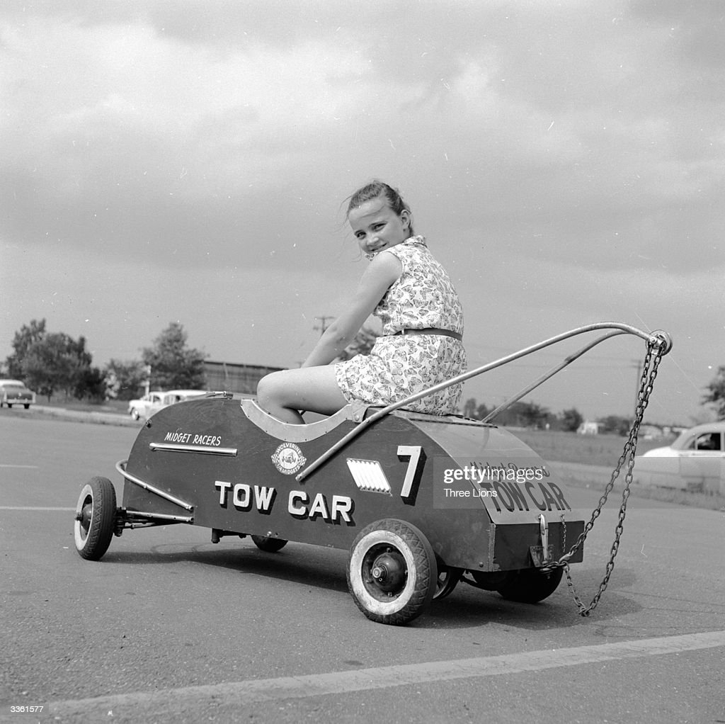 A tow car for the children's 'Grand Prix' races which take place in a parking lot in Livonia Michigan a suburb of Detroit