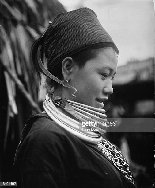 A young girl of the Karens the indigenous people of Myanmar The gold necklace is a sign of coyness