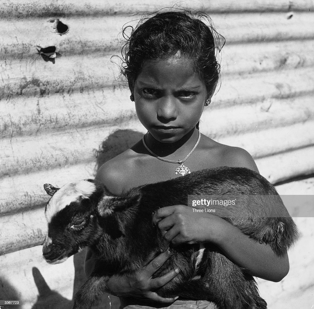 A young Tamil girl living in Sri Lanka posing with her pet baby goat.