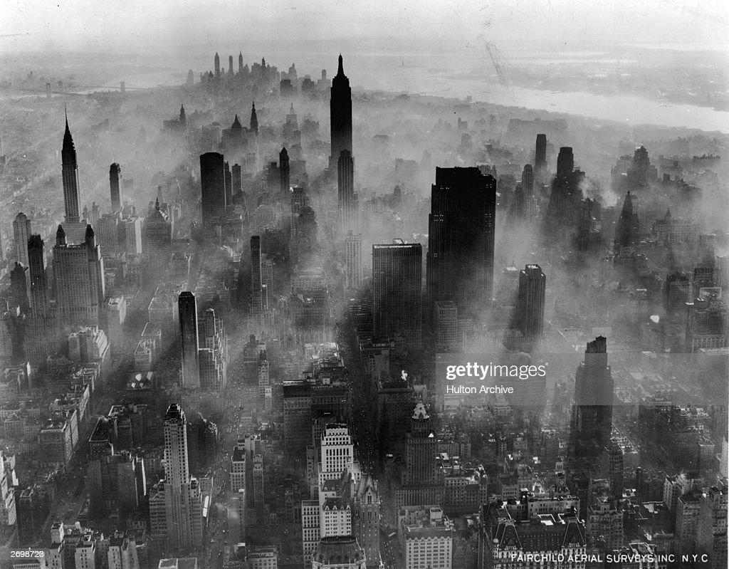 Aerial view of mid-town Manhattan, New York, looking downtown, towards the Rockefeller Centre and Empire State Building.